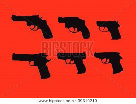 Hand Guns Silhouettes