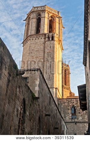 Tower Of Santa Eulalia Cathedral In Barcelona