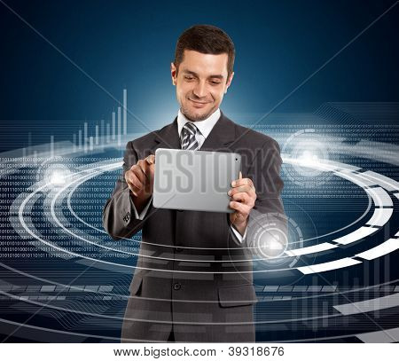 Social media concept, man businessman in suit with touch pad in his hands