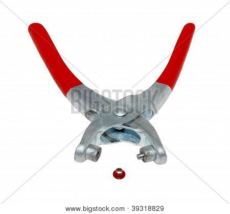 Riveter With Red Handles And One Rivet