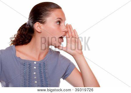 Charming Young Woman Whisper A Secret