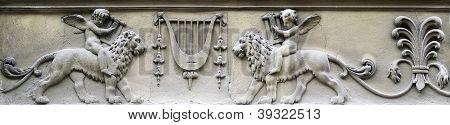 Bas-relief - Boy Sitting Astride A Lion