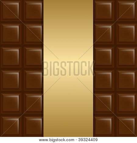 Chocolate Background With Gold Paper