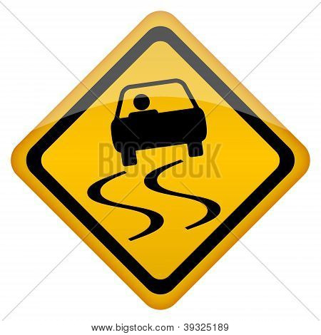 Vector slippery road sign