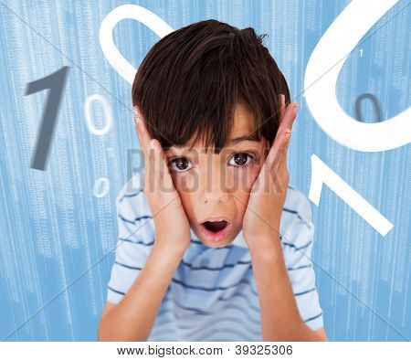Boy standing while looking scared with numbers surround ing him