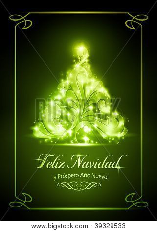 "Warmly sparkling Christmas tree on dark green background of 5x7 inch, with the text ""Feliz Navidad y Pr�³spero A�±o Nuevo"", Spanish for ""Merry Christmas and a Happy New Year""."