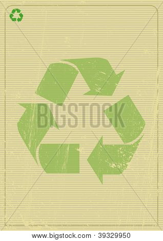 Recyclable background A recycling logo on a poster.