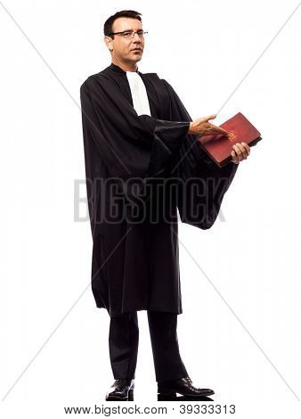 one caucasian lawyer man pleading in studio isolated on white background