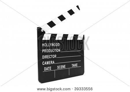 Film clapper board on white background