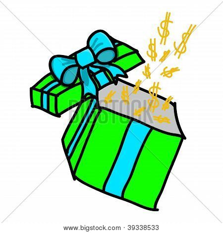 Opened Colorful Gift Box With Dollar On White Background