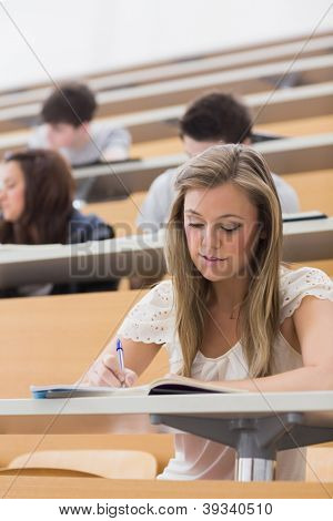 Woman sitting while writing notes at the lecture hall