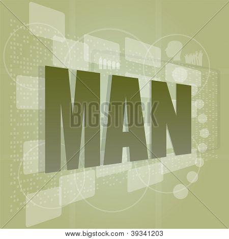 Words Man On Digital Screen, Social Concept