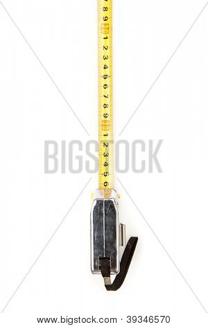 Self-retracting yellow measuring tape