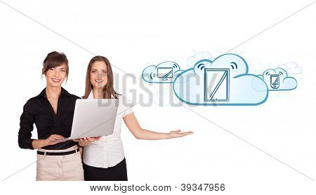 Beutiful young women presenting modern devices in clouds isolated on white