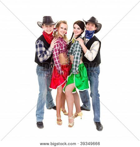 Smiling Cowboys And Cowgirls