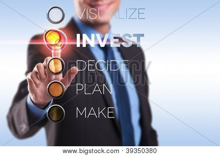 business man choosing from visualize, invest, decide, plan, make
