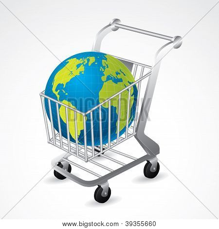 Shopping Cart Carrying The Globe
