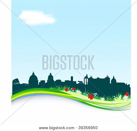 Spring background with vector Rome skyline