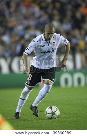 VALENCIA - NOVEMBER 20: Sofiane Feghouli during UEFA Champions League match between Valencia CF and FC Bayer Munchen, on November 20, 2012, in Mestalla Stadium, Valencia, Spain