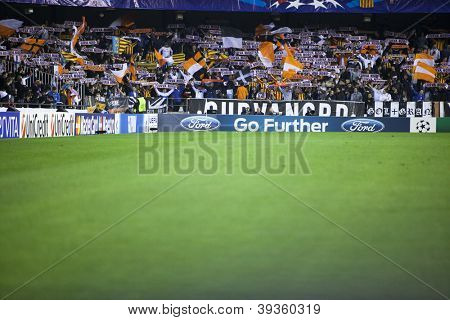 VALENCIA - NOVEMBER 20: Valencia Supporters during UEFA Champions League match between Valencia CF and FC Bayer Munchen, on November 20, 2012, in Mestalla Stadium, Valencia, Spain