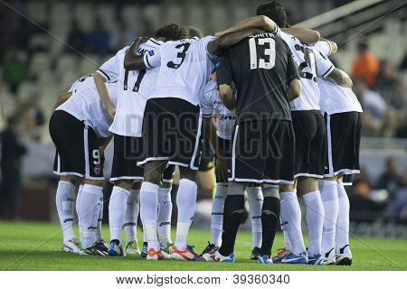 VALENCIA - NOVEMBER 20: Valencia Team players during UEFA Champions League match between Valencia CF and FC Bayer Munchen, on November 20, 2012, in Mestalla Stadium, Valencia, Spain