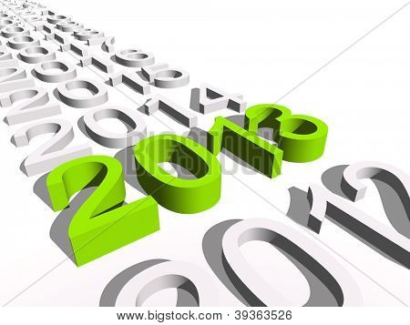 High resolution concept or conceptual 3D green 2013 year isolated on white background a s metaphor to holiday,symbol,Christmas,calendar,happy,eve,December,January,time,season,new year winter graphic