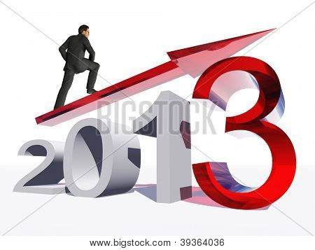 High resolution conceptual 3D 2013 year with a growing arrow isolated on white background with a business man surfing.A metaphor for economy, finance, progress,success,improvement,new,profit designs