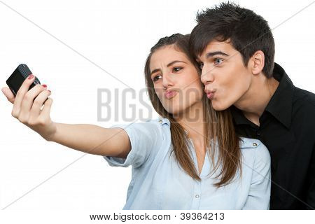 Couple Having Fun Taking Self Portrait.