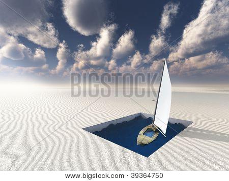 Landlocked Boat afloat in useless pool