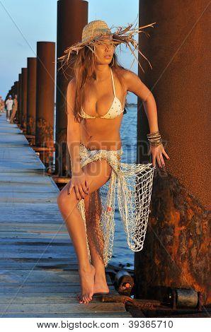 Pretty latino swimsuit fashion model posing sexy at boat marina location