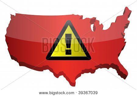 Us Map And Warning Sign
