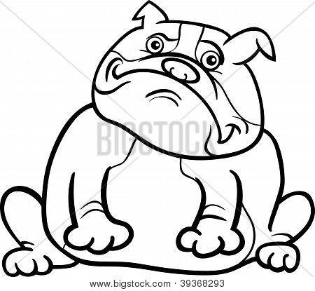 Inglés Bulldog perro de dibujos animados para colorear libro