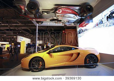 Madrid, Spain, Nov 13, 2012 - Real Mclaren Race And Hanging Upside Down Formula One Cars Showcase Sa