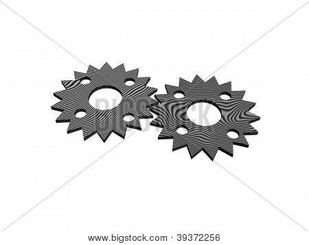 Two Original Gears Made Of Wood