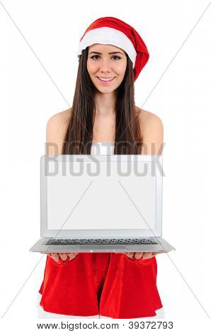 Isolated Young Christmas Girl Holding Laptop