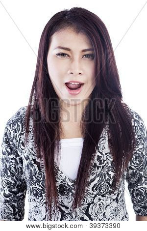 Girl Shouting Gesture Isolated Over White
