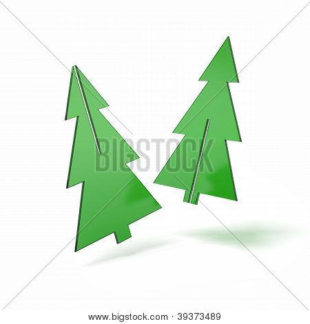 Two pieces of Christmas tree made ??of green glass