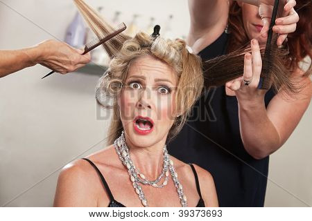 Surprised Woman In Hair Salon