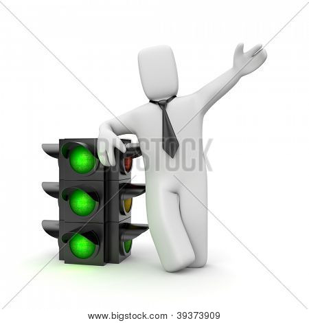 Businessman and traffic light. Green light for business