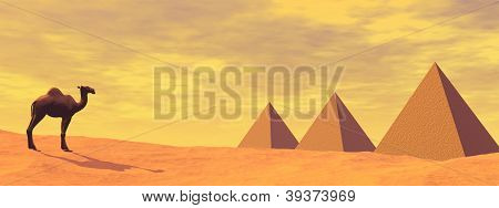 Camel And Mysterious Pyramids - 3D Render