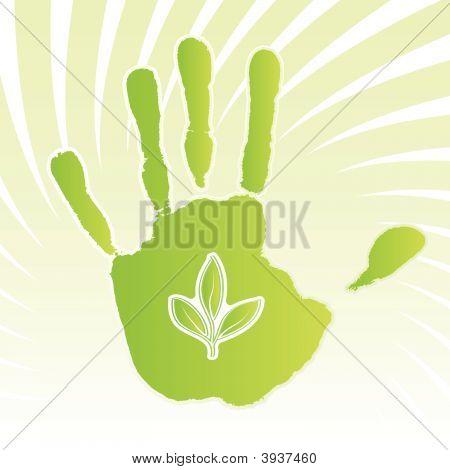 Ecology Leaf Handprint Design