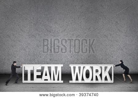 Team Work Business Concept Two People Push Text
