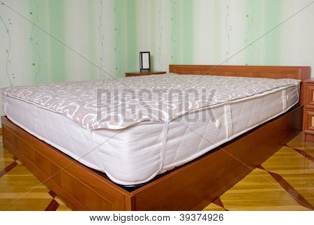 Bed Mattress With Topper. Bedroom Interior
