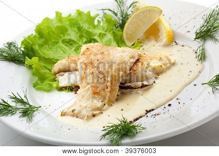 BBQ Fillet of Fish with White Sauce and Lemon