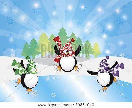 Three Penguins Ice Skating In Winter Scene Illustration