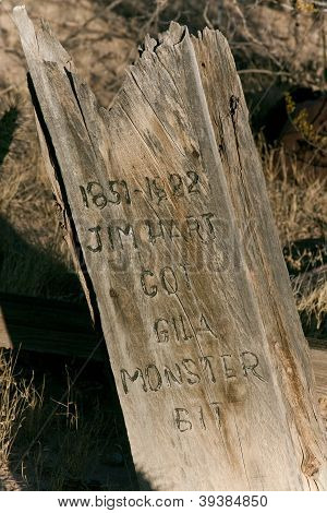 Old Wooden Grave Marker