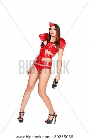attractive dj in red costume with headphones isolated on white background