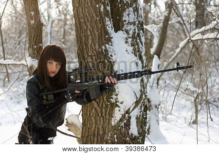 Gorgeous Woman With A Sniper Rifle