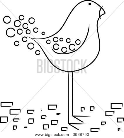 Vector cartoon cute long legged bird design