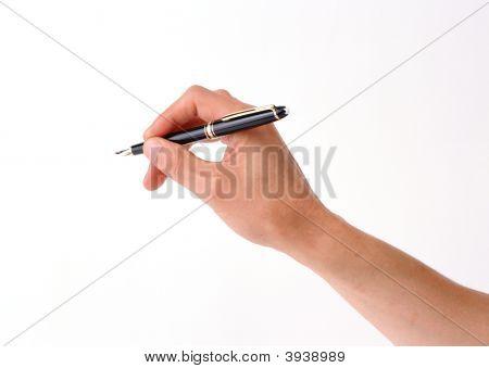 Mão de caneta